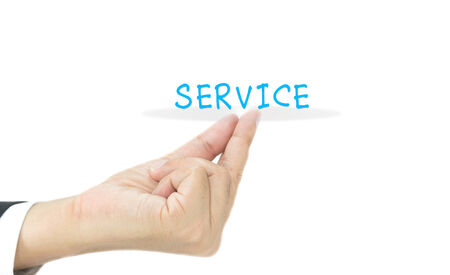 service concept on hand with white background photo