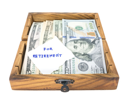 Retirement concept with money box photo