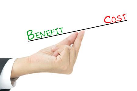 Profiteren vs Kosten vergelijking bij de hand Stockfoto