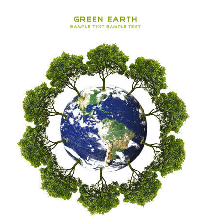 green earth concept with tree on earth