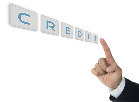 Credit word with hand of business man Stock Photo
