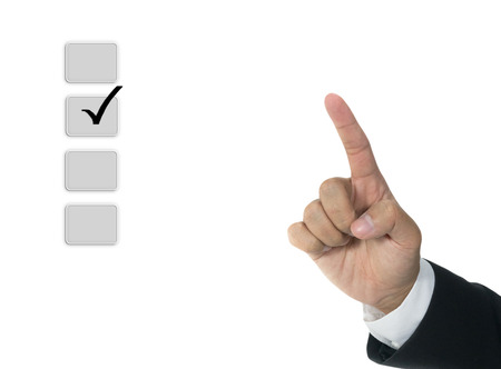 Hand with check boxes isolated