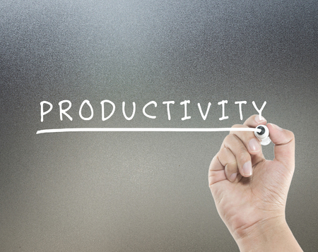 productivity text with hand writing