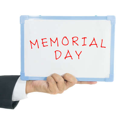 Memorial day word on white board