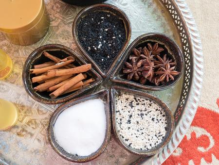 Thai spa with sesame, salt and herb