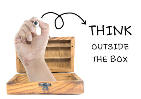 Think outside of the box concept