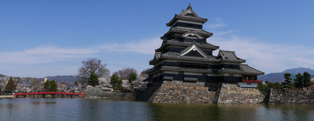 Panorama of Matsumoto castle with blue sky in Nagono city, Japan Editorial
