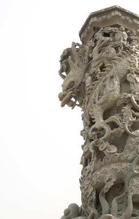 chinese dragon pillar isolated