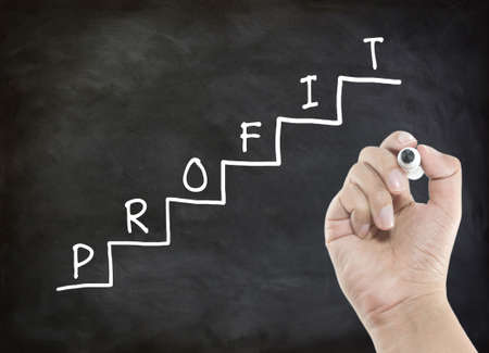 Writing profit on staircase