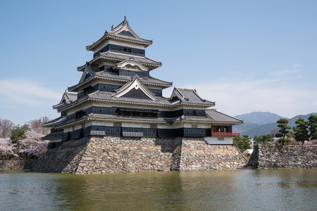 Matsumoto castle with blue sky in Nagano city, Japan Editorial