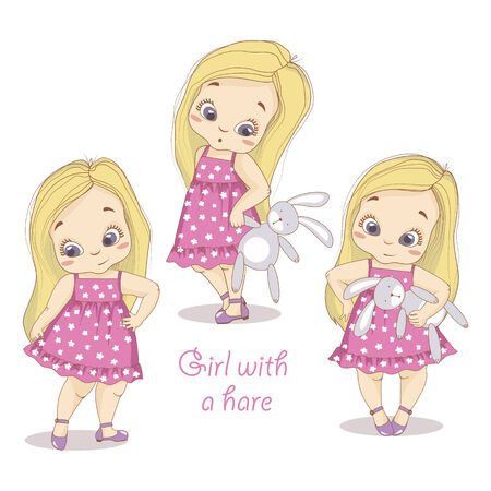 baby toy: illustration of a girl with a bear print on fabric and paper