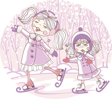 illustration for printing on paper and fabric. two girls skate Vector
