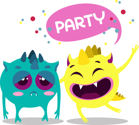 Vector illustration for printing on paper and fabric. upset and funny monsters
