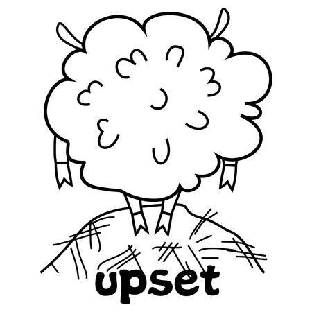 Vector illustration for printing on paper and fabric.Upset sheep.Black outline Illusztráció