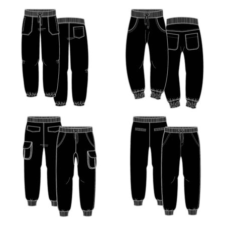 trousers: Sketches trousers for your design. Four black trousers Illustration