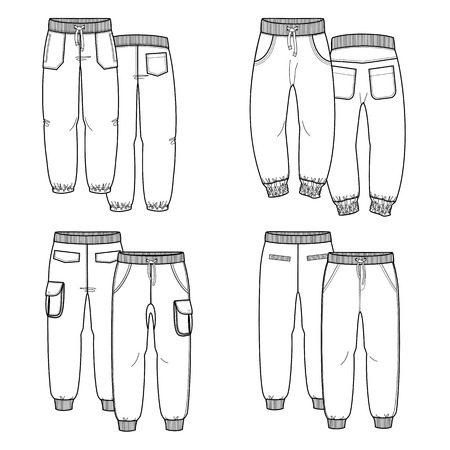 trousers: Sketches trousers for your design. Four pants