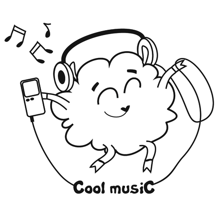Vector illustration for printing on paper and fabric. Funny sheep listen to music Vector