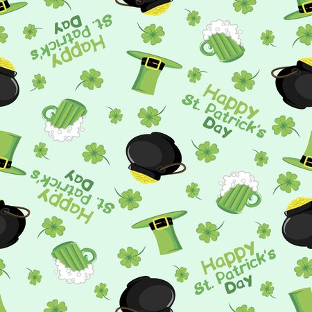 Vector illustration for printing on paper and fabric.Patricks day. Background. Seamless Vector