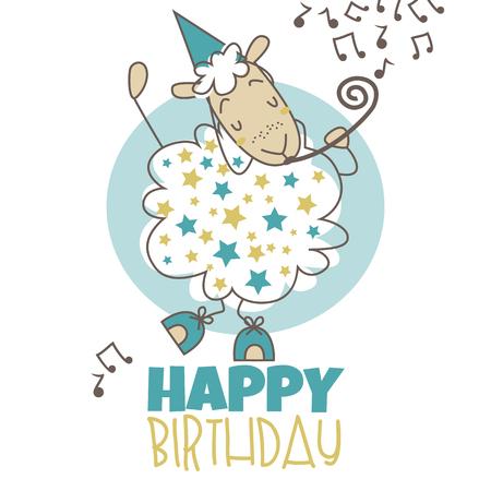 ewe: Vector illustration for your design. sheep. happy birthday