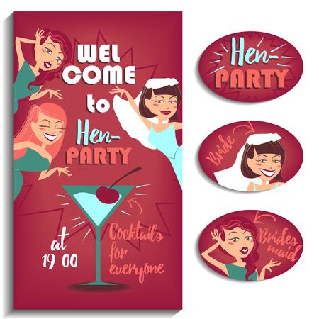 invitación a fiesta: Ilustración para su diseño. Tres muchachas que celebran la despedida de soltera. Vectores