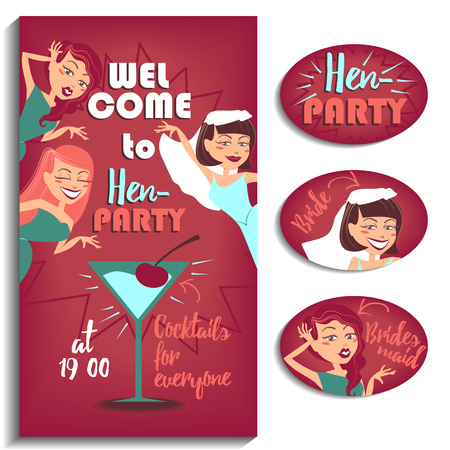 Illustration for your design. Three girls celebrating hen party.