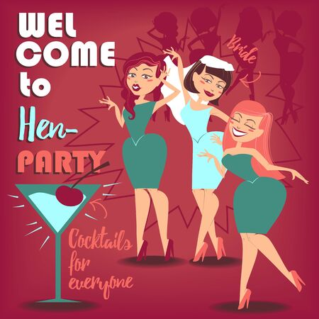 hen party: Illustration for you design. Three girls celebrating hen party. Illustration