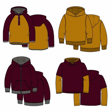ilustration: Vector illustration for your design. Vinous and mustard hoodies. Illustration