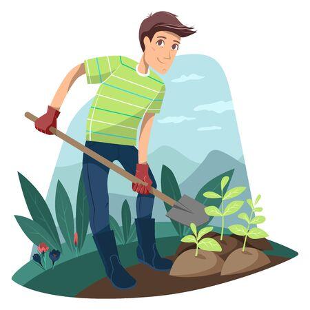 Gardening. Man plants seedlings. Vector illustration