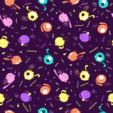 Seamless pattern of bubble cats pattern. Ilustração