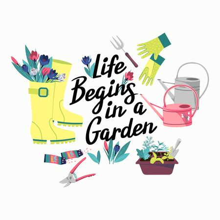 Vector illustration with garden items