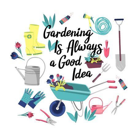 Poster with garden items. Gardening