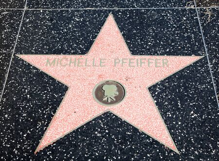 hollywood boulevard: Hollywood, CA - January 19: Actress Michelle Pfeiffers name on a star on Hollywood Boulevards walk of fame in Hollywood, California.