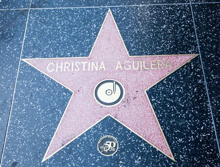 Hollywood, CA - January 19: Singer and actress Christina Aguileras name on a star on Hollywood Boulevards walk of fame in Hollywood, California.