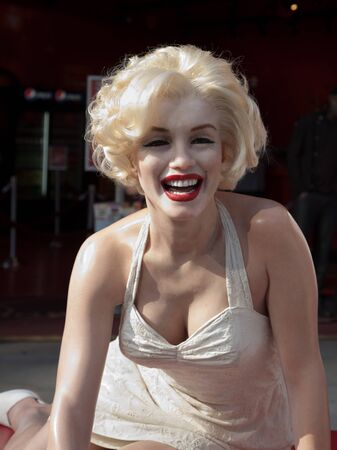 Hollywood, CA - January 19 2011: A life size wax figure of Marilyn Monroe is displayed on the sidewalk of Hollywood Boulevard outside of Madame Tussauds Wax Museum in Hollywood, California 2011.