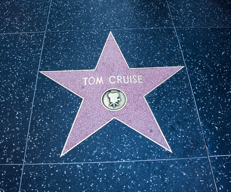 Hollywood, CA - January 19: Actor Tom Cruise's name on a star on  Hollywood Boulevard's walk of fame in Hollywood, California.
