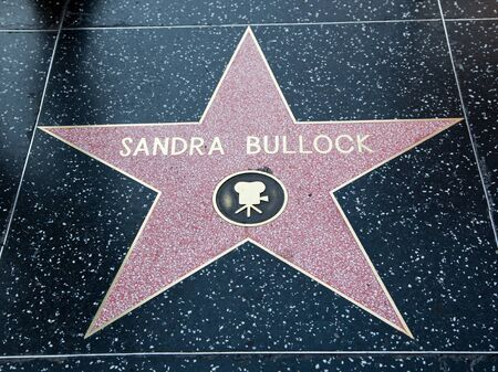 hollywood, CA - January 19: Actress Sandra Bullocks name on a star on  Hollywood Boulevards walk of fame in Hollywood, California.