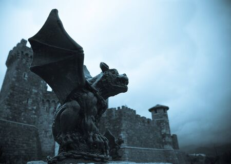 A gothic looking gargoyle stands watch over his castle on a gloomy day creating a medieval scene. Imagens