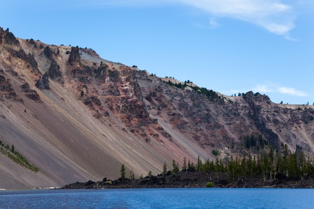 the deepest: Looking up at the steep rocky rim of Crater Lake from the surface of the deepest US lake with Wizard Island in front.