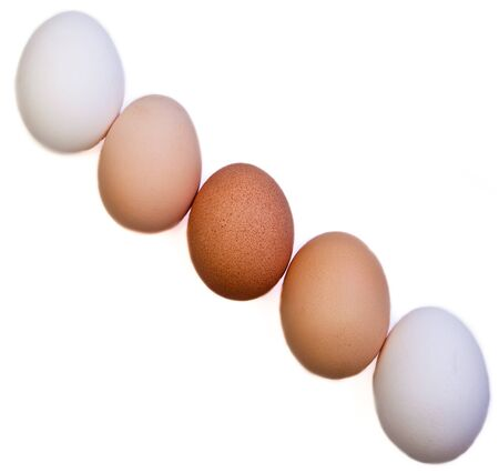 diagonal lines: A diagonal line up of five eggs of different varieties with a dark brown egg in the middle, then two light brown eggs, and two white eggs on the ends.
