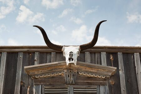 The skull of a Texas longhorn cow is hung above an entrance way of an old western wooden building. photo