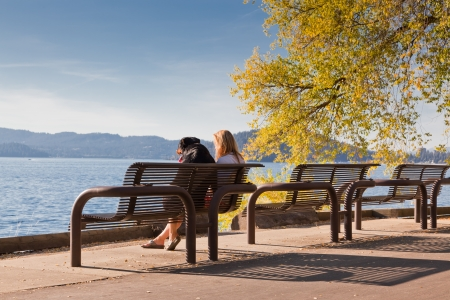A woman and her dog sit on a metal park bench looking out over a blue lake with mountains on a fall day.