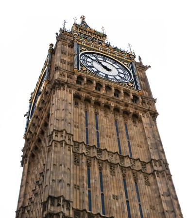 Big Ben Tower clock in London, England isolated on white. Stock Photo