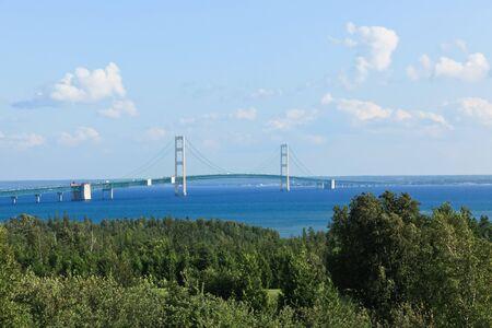 mackinac: Mackinac Bridge connects the narrows between the Great Lake Huron and Lake Michigan. Stock Photo