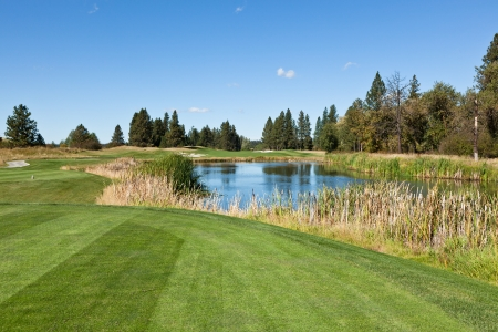 A tee off area looking down course over a pond and to the hole by the tree line at a North Idaho golf course on a sunny day