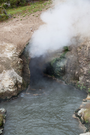 steam mouth: The cave opening of Dragons Mouth Spring with hot steam escaping and waves of hot mineral water flowing out at Yellowstone National Park.