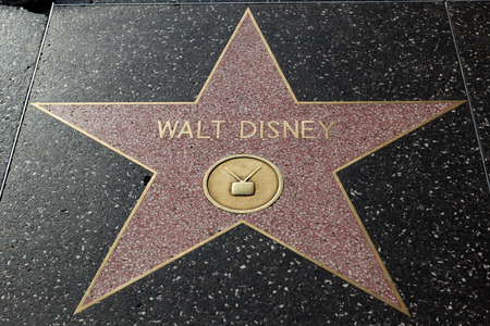 hollywood   california: HOLLYWOOD, CALIFORNIA - February 8 2015: Walt Disneys Hollywood Walk of Fame star on February 8, 2015 in Hollywood, CA.