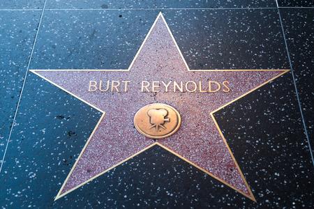 reynolds: HOLLYWOOD, CALIFORNIA - February 8 2015: Burt Reynolds Hollywood Walk of Fame star on February 8, 2015 in Hollywood, CA.