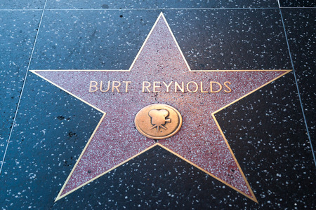 HOLLYWOOD, CALIFORNIA - February 8 2015: Burt Reynolds Hollywood Walk of Fame star on February 8, 2015 in Hollywood, CA.