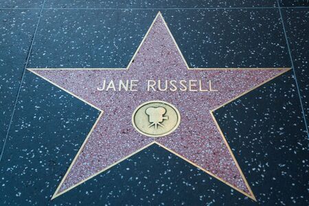 jane: HOLLYWOOD, CALIFORNIA - February 8 2015: Jane Russells Hollywood Walk of Fame star on February 8, 2015 in Hollywood, CA. Editorial