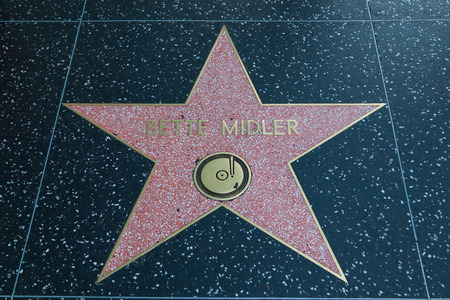 hollywood   california: HOLLYWOOD, CALIFORNIA - February 8 2015: Bette Midlers Hollywood Walk of Fame star on February 8, 2015 in Hollywood, CA.